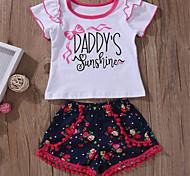 abordables -bébé Fille Basique Quotidien Couleur Pleine Manches Courtes Normal Ensemble de Vêtements Blanc / Bébé
