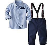 abordables -Enfants Bébé Garçon Ensemble de Vêtements Anniversaire Intérieur Bleu & blanc Rayé Brodée Manches Longues basique Normal Normal Bleu