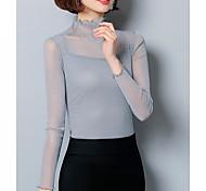 abordables -Femme T shirt Couleur Pleine Maille Manches Longues Quotidien Hauts basique Noir Rose Claire Vin