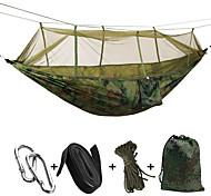 abordables -Hamac de camping avec moustiquaire Extérieur Portable Poids Léger Respirable Ultra léger (UL) Nylon Parachute avec mousquetons et sangles pour 2 personne Camping / Randonnée Chasse Pêche Vert 260*140