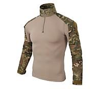 economico -Per uomo maglietta T-shirt da escursione Manica lunga Maglietta Superiore Esterno Indossabile Asciugatura rapida Traspirante Autunno Primavera Estate Cotone Camouflage Nero Verde militare Mimetico
