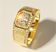 economico -Anello Classico Oro Ottone Diamanti d'imitazione Placcato in oro 24 carati Prezioso Lusso Di tendenza Classico 1 pc 7 8 9 10 11 / Per uomo