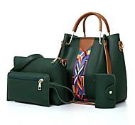 economico -Per donna Sacchetti pelle sintetica sacchetto regola Set di borse da 4 pezzi Cerniera Quotidiano Set di sacchetti Bianco Nero Rosso Rosa