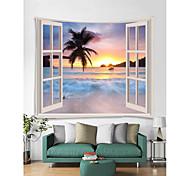 abordables -fenêtre paysage mur tapisserie art décor couverture rideau pique-nique nappe suspendu maison chambre salon dortoir décoration polyester mer océan plage coucher de soleil lever du soleil palm