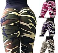 abordables -Femme Taille haute Pantalon de yoga Fesses plissées Lifting des fesses plissées Legging Contrôle du Ventre Lifting des fesses camouflage Violet Vert Véronèse Couleur camouflage Aptitude Exercice