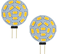 abordables -3w led g4 voiture camping car marine rv 15 led 5730 smd ronde gamme 120 degrés ac / dc 12v - 24v blanc froid / chaud (2 pcs)