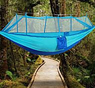 abordables -Hamac de camping avec moustiquaire Hamac double Extérieur Portable Poids Léger Respirable Anti-Moustique Ultra léger (UL) Nylon Parachute pour 2 personne Randonnée Camping Bleu Jaune Rose Claire