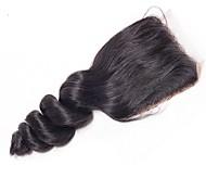 abordables -Yavida Cheveux Brésiliens 4x4 Fermeture / Partie gratuite Ondulé Partie gratuite Dentelle Suisse Cheveux Naturel humain Femme Doux / Soyeux / Perruque afro-américaine Regalos de Navidad / Soirée