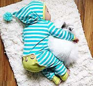abordables -bébé Garçon Actif / Basique Quotidien Rayé Bandes Manches Longues Coton Une-Pièce Bleu
