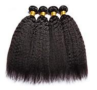 abordables -Lot de 4 Tissage de cheveux Cheveux Péruviens Droit Yaki Extensions de cheveux Naturel humains Cheveux Naturel Rémy Paquets de 100% Remy Hair Weave 400 g Tissages de cheveux humains Extensions / 8A