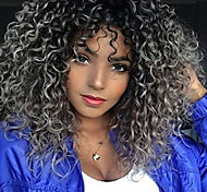 abordables -Perruque Synthétique Bouclé Partie médiane Perruque Moyen Gris noir Cheveux Synthétiques 18 pouce Femme Cheveux Colorés Au Milieu Pour Cheveux Africains Gris