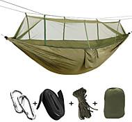 abordables -Hamac de camping avec moustiquaire Hamac double Extérieur Portable Respirable Anti-Moustique Ultra léger (UL) Pliable Nylon Parachute avec mousquetons et sangles pour 2 personne Chasse Randonnée Plage