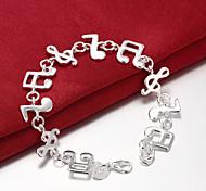 abordables -Chaînes Bracelets Femme Géométrique Musique Note de Musique dames unique Mode Soirée Bracelet Bijoux Argent pour Soirée Cadeau Valentin