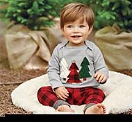 abordables -bébé Garçon Basique Noël / Quotidien / Vacances Imprimé / Noël Brodée Manches Longues Normal Coton Ensemble de Vêtements Gris / Bébé