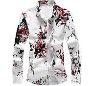 abordables -Homme Chemise Fleurie Grandes Tailles Imprimé Manches Longues Quotidien Hauts basique Rouge