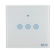 abordables -weto w-t13 eu / us / cn 3 gang wifi commutateur mural intelligent capteur tactile commutateur intelligent maison télécommande fonctionne avec alexa google home via un téléphone intelligent
