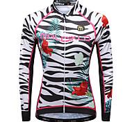 abordables -Malciklo Femme Manches Longues Maillot Velo Cyclisme Hiver Lycra Polyester Blanche Noir Violet Floral Botanique Zébré Grandes Tailles Cyclisme Maillot Hauts / Top VTT Vélo tout terrain Vélo Route