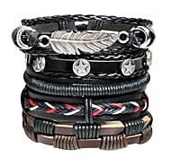 abordables -Bracelets en cuir Loom Bracelet Homme Tressé Corde Cuir Forme de Feuille Rétro Vintage Rock Hip-Hop Bracelet Bijoux Noir pour Plein Air Bar