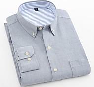 abordables -Homme Chemise Couleur Pleine Grandes Tailles Manches Longues Quotidien Hauts Entreprise basique Bleu Marine Gris Bleu clair