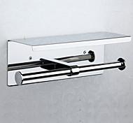 economico -doppio porta carta igienica nuovo design moderno acciaio inossidabile e ferro con mensola porta cellulare a parete argentata 1pz
