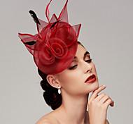 economico -Pelle / A rete Cappello Kentucky Derby / fascinators / Accessori per capelli con Piume / Fantasia floreale / Floreale 1 pc Matrimonio / Occasioni speciali / Tè Copricapo