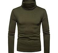 abordables -Homme T-shirt Couleur Pleine Manches Longues Quotidien Hauts Noir Vin Vert Véronèse