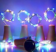 economico -HKV 1m Fili luminosi 10 LED 4pcs Bianco caldo Bianco Viola Solare Decorativo Tappo per bottiglia di vino Tappo di rame per sughero Ad energia solare