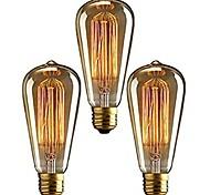 economico -3 pezzi 40 W E26 / E27 ST64 Bianco caldo 2200-2700 k Retrò / Oscurabile / Decorativo Lampadina a incandescenza vintage Edison 220-240 V