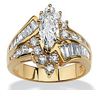 economico -Anello Zircone cubico Multistrato Oro Argento Resina Rame Strass Corona Donne Alla moda Lusso 1 pc 6 7 8 9 10 / Per donna