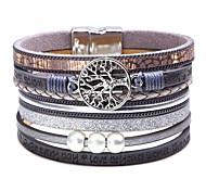 abordables -Bracelets en cuir Large bracelet Bracelets de mémoire Femme Classique Tendance Cuir Créatif Arbre de la vie arbre de la vie dames simple Tendance Mode Tous les jours Bracelet Bijoux Noir Bleu Marron