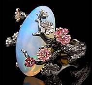 economico -Anello di dichiarazione Opale sintetico Retrò Nero Rame Pietra Fiore decorativo Donne Asiatico Elegante 1 pc 5 6 7 8 9 / Per donna