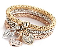 abordables -3pcs Bracelet Pendentif Parure Bracelet Bracelet Cape Cod Femme Multirang Strass Cœur dames Doux Italien Bracelet Bijoux Or Rose pour Cérémonie Soirée
