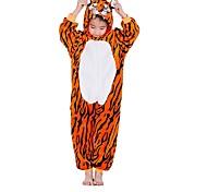 abordables -Enfant Pyjama Kigurumi Tenues de nuit Camouflage tigre Combinaison de Pyjamas Flanelle Orange Cosplay Pour Garçons et filles Pyjamas Animale Dessin animé Fête / Célébration Les costumes