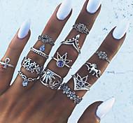 economico -Unghia per unghie Cristallo Stile vintage Argento Lega Cavallo Unicorno Fiore decorativo Importante Donne Stravagante 13 pz / Per donna / Anello a metà dito