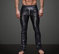 abordables -Homme Quotidien Soirée Sportif Basique Legging Couleur Pleine Couleur unie Taille médiale Noir S M L / Simili Cuir / Punk & Gothique