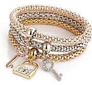 economico -3 pezzi Per donna Bracciale con pendenti Multistrato Amicizia Donne Italiano Dolce Strass Gioielli braccialetto Oro rosa Per Cerimonia Evento