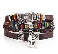 abordables -Bracelets en cuir Homme Tressé Poissons Chouette Artistique unique Bracelet Bijoux Marron pour Soirée Plein Air