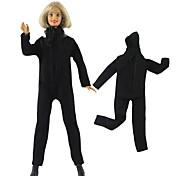 abordables -Manteau de poupée Pantalons Hauts Pour Barbie Noir Etoffe non tissé Tissu Tissu de coton Combinaison-pantalon Pour Fille de Jouets DIY