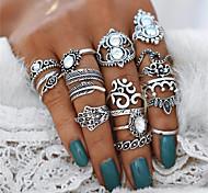 economico -Anello di dichiarazione Cristallo Stile vintage Argento Lega Cuori Fiore decorativo Corona Importante Donne Stravagante 16 pezzi / Per donna / Set di anelli