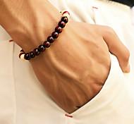 economico -Per uomo Braccialetto con perline Perline A buon mercato Semplice Casuale / sportivo di legno Gioielli braccialetto Nero / Rosso / Marrone Per Strada Quotidiano Per uscire