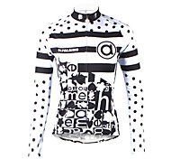 abordables -ILPALADINO Femme Manches Longues Maillot Velo Cyclisme Hiver Toison Elasthanne Blanche Points Polka Rayure Cyclisme Maillot Hauts / Top VTT Vélo tout terrain Vélo Route Chaud Doublure Polaire
