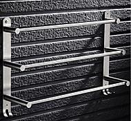 abordables -porte-serviettes en acier inoxydable argent porte-serviettes 3 niveaux porte-serviettes de salle de bain porte-serviettes antirouille porte-serviettes avec 2 crochets support mural 40/50/60 cm