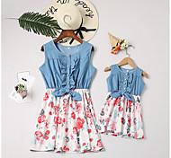 abordables -Maman et moi Lots de Vêtements pour Famille Robe Quotidien Fleurie Sans Manches Blanche Rouge Actif