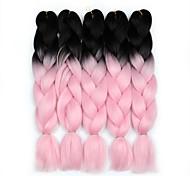 abordables -Crochet Hair Braids Jumbo Box Braids Rose Cheveux Synthétiques 24 pouce Rajouts de Tresses 5 Pièces