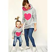 abordables -Maman et moi Lots de Vêtements pour Famille Sweat à capuche et Sweat Quotidien Géométrique Manches Longues Rose Claire Fuchsia Vert basique