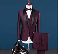 abordables -Couleur Pleine Coupe Sur-Mesure Mélange de laine / Polyster Costume - Col Châle Droit 1 bouton / costumes