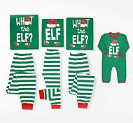 abordables -Regard de la famille Lots de Vêtements pour Famille Ensemble de Vêtements Noël Quotidien Rayé Noël Manches Longues Vert basique