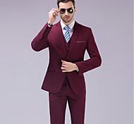 abordables -Couleur Pleine Coupe Sur-Mesure Laine / Polyster Costume - Cranté Droit 1 bouton / costumes