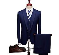 abordables -Avec motifs Coupe Sur-Mesure Laine / Polyster Costume - Cranté Droit 1 bouton / Droit 2 boutons / costumes