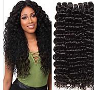 abordables -Lot de 3 Tissage de cheveux Cheveux Brésiliens Ondulation profonde Extensions de cheveux Naturel humains Cheveux Naturel Rémy Paquets de 100% Remy Hair Weave 300 g Tissages de cheveux humains